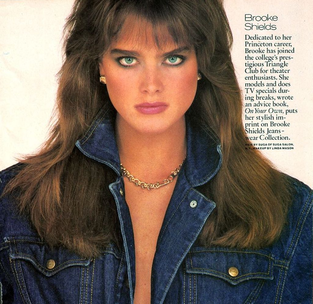 Brooke Shields sporting a denim jacket for Cosmopolitan. Image: Jacques Malignon, 1985.