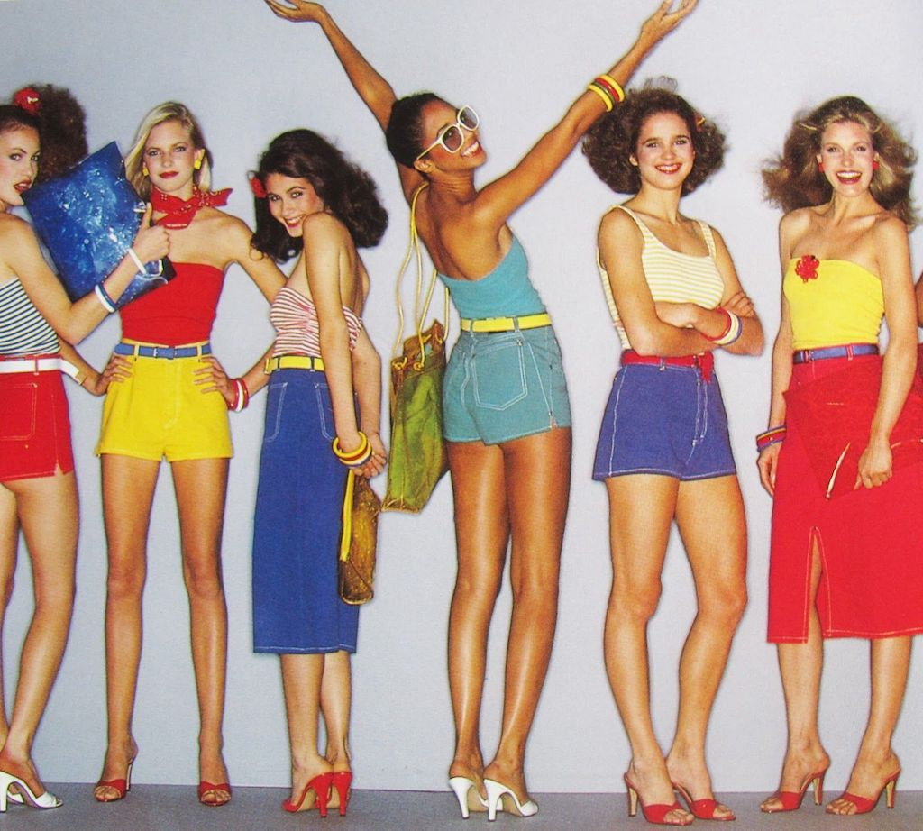 The 80s fashion for women included a rainbow of colors as is seen in the Summer 1980 Esprit Catalog.