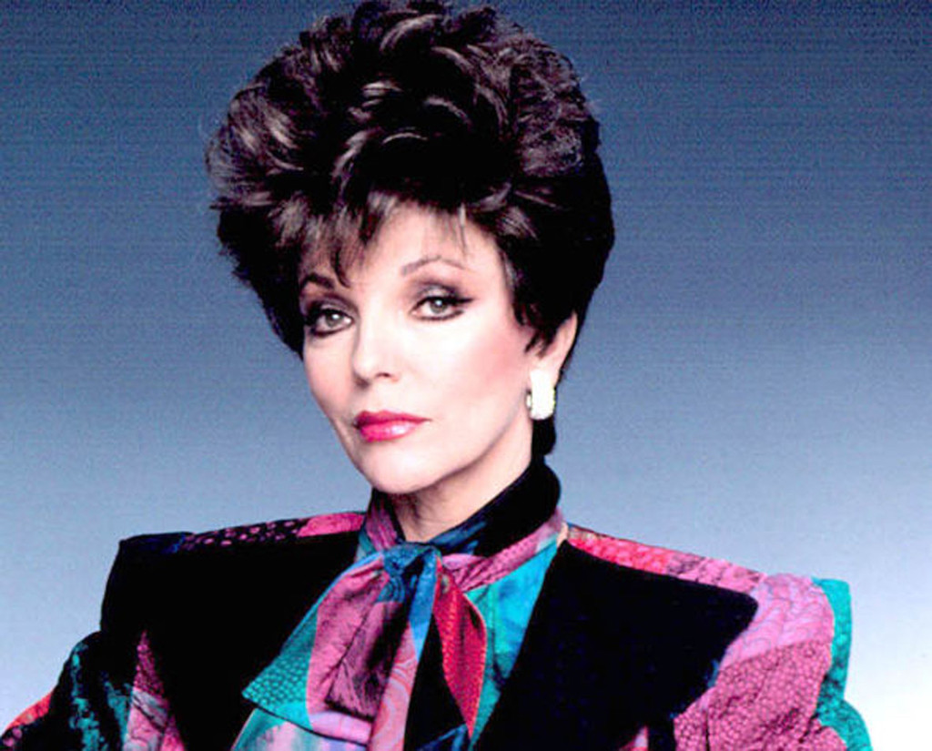 Joan Collins as Alexis Colby in Dynasty wearing shoulder pads circa 1981.