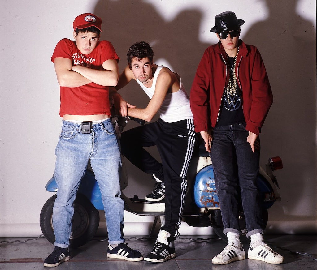 Beastie Boys in 1986 wearing their Adidas Campus. Image: Getty/Lynn Goldsmith.