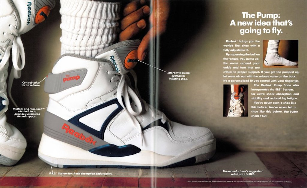 Reebok Pump advertisement from 1989.