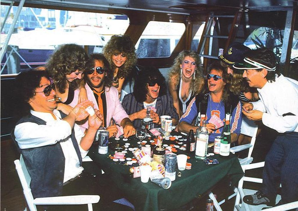 Members of Van Halen enjoying themselves on tour.