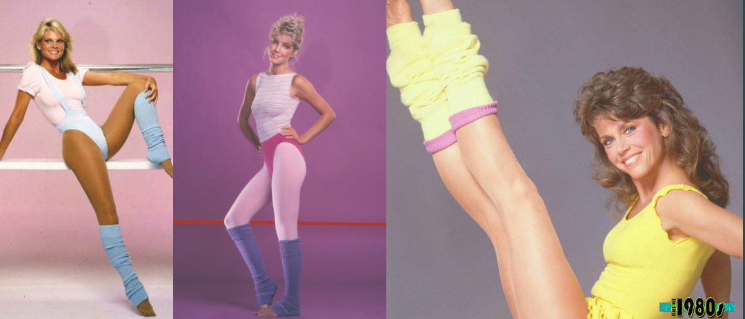 1980s fashion for women included leg warmers, especially for aerobics.