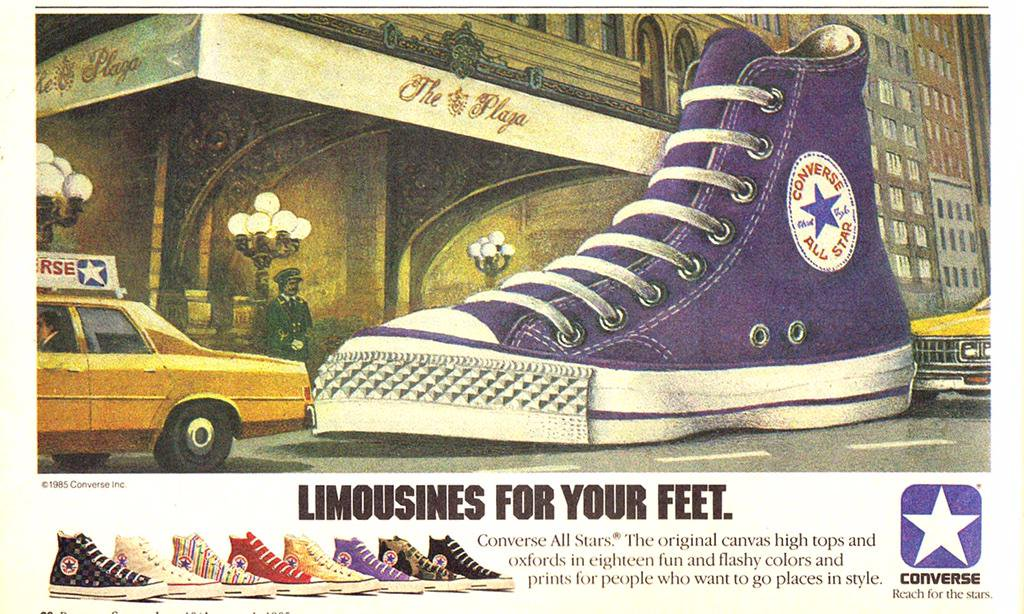 One of the most popular 80s shoes was the Converse All Stars. This is an advertisement for the shoe made in 1984.