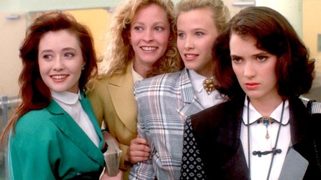 """A screenshot of the 1988 movie """"Heathers"""" shows the popularity of Power Suits."""