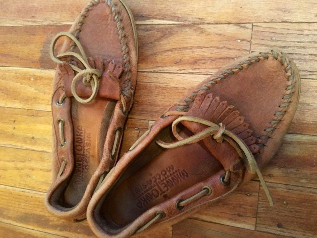 Minnetonka Moccasins were popular 80s shoes worn mainly with jeans.