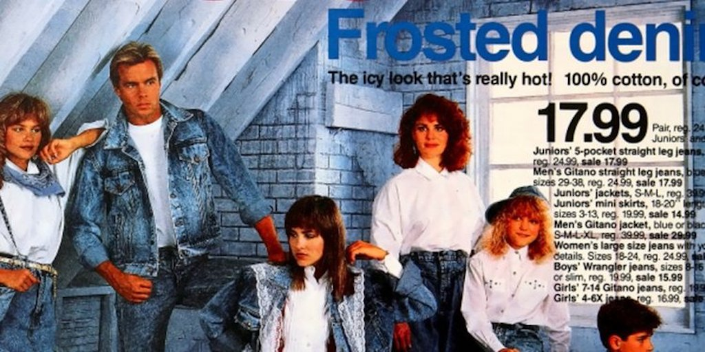Acid Washed Jeans ad from Target was part of 80s womens fashion.