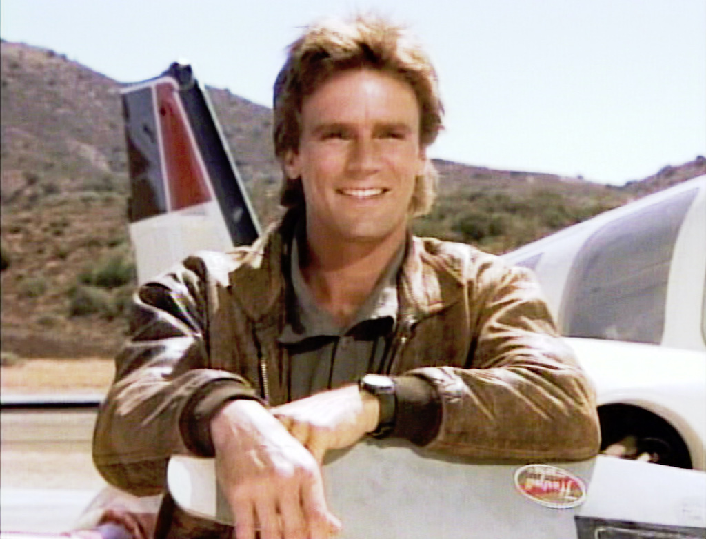 Richard Dean Anderson as MacGyver in the opening sequence of the action adventure television series, MacGyver. Image dated 1986. Frame grab. Copyright © 1985 CBS Broadcasting Inc. All Rights Reserved. Credit: CBS Photo Archive.