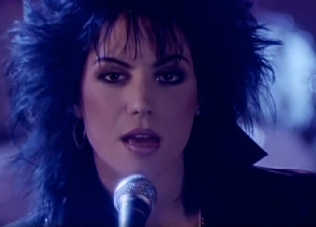"Joan Jett in the video ""I Hate Myself for Loving You."""